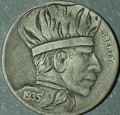 DAVID JONES HOBO NICKEL - CHEF - 1935 BUFFALO PROFILE Hobo Nickel, Money Talks, David Jones, Art Forms, Sculpture Art, Buffalo, Coins, Photograph, Carving