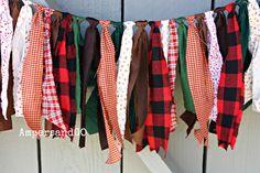 Lumberjack Party Fabric Bunting, Buffalo Plaid Burlap Banner Garland, Lumberjack Red & Black Plaid, Party Decor Photo Prop, Cabin Mt Woods
