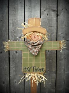 #K180 HAY THERE!  Mini Stake   Oh how cute is this guy?  He will look absolutely adorable stuck down in a big pot of mums on your porch this fall!  A great seller as well! Fall Wood Crafts, Halloween Wood Crafts, Scarecrow Crafts, Fall Scarecrows, Halloween Scarecrow, Autumn Crafts, Fall Halloween, Holiday Crafts, Vintage Halloween