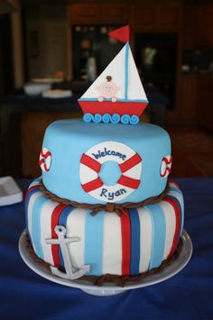 Two tiered cake for nautical themed baby shower.  Fondant covered with some gumpaste accents (topper and anchor).