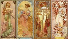 Alphonse Mucha (1860–1939, Czech) Decorative prints: the tetraptychs Mucha was an influential Czech painter and decorative artist of the turn of the century. His elegant depictions of females in...