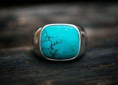 Anneau en turquoise. Grande Turquoise bague par NaturalRockShop