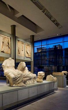 The Parthenon ~ View of the sculptural adornment of the east side of the Parthenon (pediment, metopes, frieze), Acropolis Museum, Athens