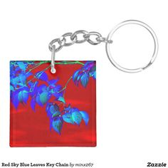 Red Sky Blue Leaves Key Chain