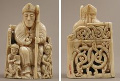 Chess Piece in the Form of a Bishop with Two Attendants, 1150–1200. Scandinavian, probably Trondheim, Norway. Walrus ivory. The Metropolitan Museum of Art, New York, G