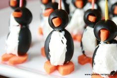Penguin Appetizers with olives, cream cheese and carrots