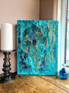 Textured Abstract Art – Turquoise, blue and Gold on a deep box canvas – Absrtact Painting by Georgia. Textured Abstract Art – Turquoise, blue and Gold on a deep box canvas Strukturierte abstrakten Kunst: Türkis und Gold Texture Art, Texture Painting, Painting & Drawing, Abstract Canvas, Canvas Art, Acrylic Art, Art Techniques, Love Art, Painting Inspiration