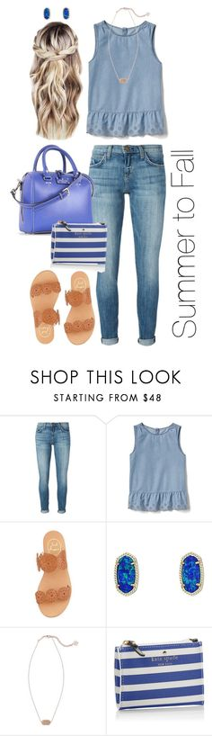 """""""Summer to Fall"""" by mirandamf on Polyvore featuring Current/Elliott, Gap, Jack Rogers, Kendra Scott and Kate Spade"""