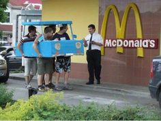 People in cardboard cars. Even though we love you. | 16 People Who Are Ruining The Drive-Thru For All Of Us