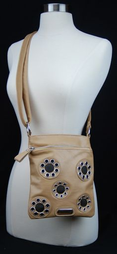 Cross Body Leather Bag Classic Style Zippered Enclosure Tan