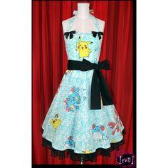 Pokemon Pikachu Blue Scroll Dress Corset Halter Sweetheart Dress Size... ($140) ❤ liked on Polyvore featuring dresses, pokemon, grey, women's clothing, vintage corset, blue dress, gray cocktail dress, blue cocktail dress and blue corset