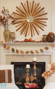 Fall Mantel with DIY Sunburst Mirror