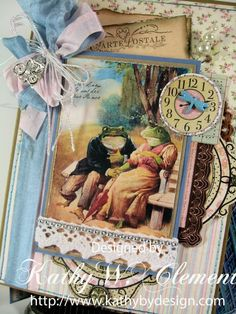 Fabulous card using Crafty Secrets New Frog Cards 2 page digital download with postcards and tags
