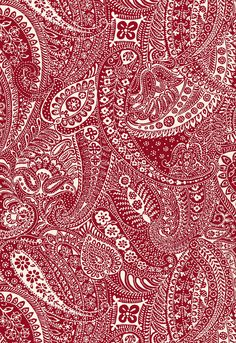 Fabric | Paisley Print in Red | Schumacher