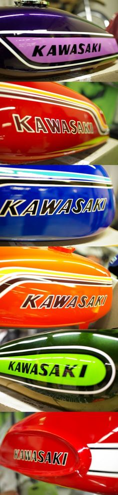 Vintage kawasaki paint schemes. Attached to a vintage Kawasaki, in pretty not bad condition please.