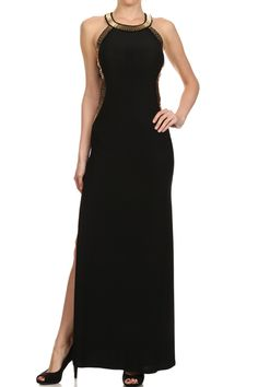 Solid Full Length Halter Neck Sleeveless Maxi Dress
