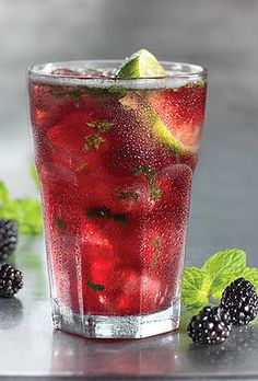 Blackberry Mojito Lime Infused Spa Water. Box of blackberries, fresh mint leaves, sliced key limes, if you would like it a little sweeter add a little cane sugar, crushed ice, ginger ale or club soda for bubbles (optional), & pitcher of water. In a pitcher, muddle (or smoosh with the back of a spoon) the blackberries & mint until they make a delicious minty-berry mush. Add some blackerries, sliced key limes, fill with water and let sit in the fridge for a few hours. Stir occasionally.