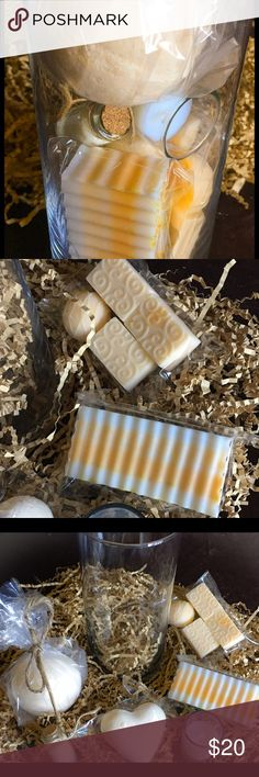 All Natural Citrus 🍊 Mandarin (6)Piece Spa Set All Natural Citrus 🍊 Mandarin pure Essential Oil has a powerfully fresh traditional lemon fragrance that is quite energizing & Uplifting. Glass Design Gift set includes; 1- 3-4oz Bath Bar, 1- (4 pack) stamped travel set,  1- Lg Bath Bomb, 1- Medium Heart Shaped Fizzy, one Small vile of Fine Bath Salts and 1- Mini Bath Candle in a glass vase (This Item Is NOT Sold By The Ounce Due To Vase) Thisnthatsassdesignz Other