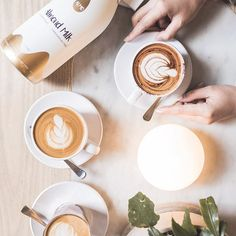 Fridays deserve a hot coffee & a friend for company! Anything with almond milk is our favourite 😉 What's yours? Almond Milk Coffee, Hot Coffee, Latte, Food, Meals, Yemek, Eten