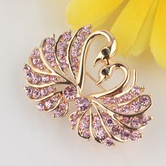 Free shipping New Fashion Women's 18k Gold Plated Clear/Champagne/Pink Austrian Crystal Swan Brooch Pin Gift Jewelry