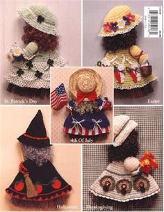 Picture of Holiday Broom Dolls 1 Crochet Pattern Leaflet