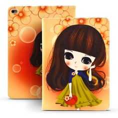 PU Leather Anti-Dust Cover Case For Fundas Apple iPad 2 iPad 3 iPad 4 Cover Coque Character Cartoon Flower Girls Case for iPad 4