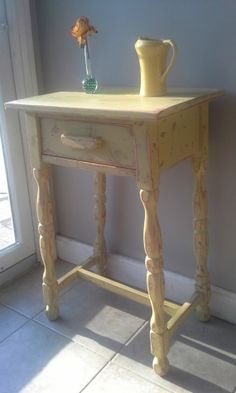 Vintage Shabby Chic, Rustic, Country Painted Side End Table  - Painted, Distressed $85 #upcycled #furniture #painted #distressed #shabbychic #vintage