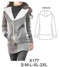 casacas dama Coats For Women, Jackets For Women, Retro Sportswear, Girls Winter Coats, Embroidery Fashion, Dress Sewing Patterns, Jacket Pattern, Jackett, Apparel Design