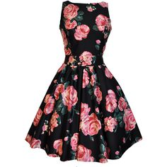 Black Pink Rose Floral Tea Dress ($29) ❤ liked on Polyvore featuring dresses, tea party dresses, vintage day dress, pink dress, black dress and black skater skirt