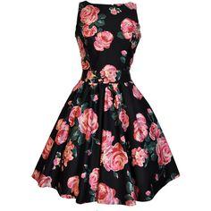 Black Pink Rose Floral Tea Dress (3.780 ISK) ❤ liked on Polyvore featuring dresses, pink skater skirt, black floral dress, black skater skirt, skater skirt and vintage day dress