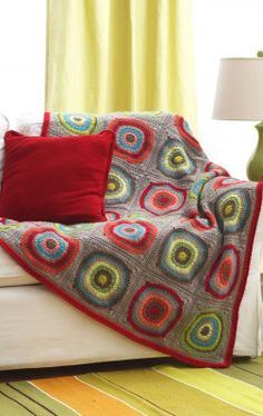 Free Circles in Squares Blanket Crochet Pattern