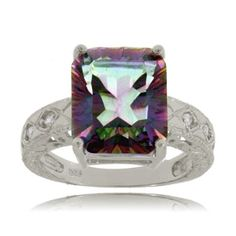 Mystic fire topaz ring