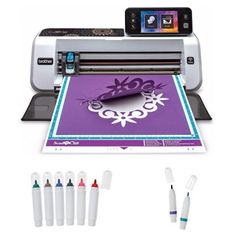 Brother ScanNCut2 Home and Hobby Cutting Machine with Rhinestone Trial Kit with Erasable Pen Set & Color Pen Set