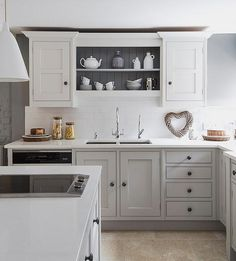 Lets continue yesterdays Best Grey Paint post (where I shared my current favourite grey paints for front doors) with. The Best Grey Pa. Kitchen Paint, New Kitchen, Kitchen Decor, Kitchen Cabinets, Kitchen Ideas, Open Cabinets, Natural Kitchen, Cottage Kitchens, Home Kitchens