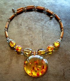 Unique Faux Amber Choker Memory Wire Necklace #Choker #Amber #Lucite