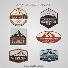Set de insignias de aventuras Vector Gratis