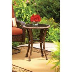 "Azalea Ridge 20"" Round Outdoor Side Table Brown All Weather Wicker & Glass Top #BetterHomesandGardens"