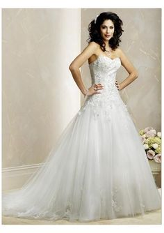 Tulle Sweetheart Appliqued A line Skirt with Lace up and Chapel Train Wedding Gown WM-0070