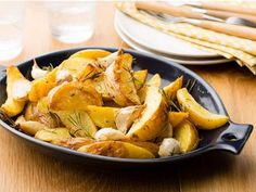 Roasted Yukon Potatoes with Rosemary : Food Network Kitchen recommends serving these potato wedges hot out of the oven. That way, you can take full advantage of the warm, golden skin. Potato Side Dishes, Veggie Side Dishes, Vegetable Dishes, Food Dishes, Vegetable Recipes, Great Vegetarian Meals, Vegetarian Recipes, Cooking Recipes, Healthy Recipes