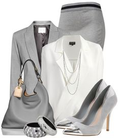 Grey and Blue Office Attire | Another classic look, which is updated with a bow-tie white blouse ...    Interviewing with MGA Business Consulting? Learn more & get directions here: https://plus.google.com/+MGABusinessConsultingIncPhoenix/about                                                                                                                                                      More