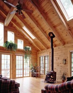 Log home great room with skylights, French doors, and wood stove