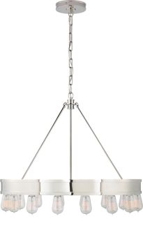"""DINING TABLE OPTION ROARK 30"""" MODULAR RING CHANDELIER - also comes in darker steel color, which I prefer"""