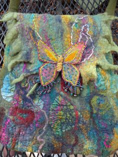My butterfly purse; felted, embroidered and beaded.