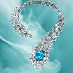 Unbelievably stunning Paraiba and Diamond Feather Necklace by @MoussaieffJewellers
