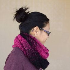 Knit cowl infinity scarf black bright pink tones multicolor