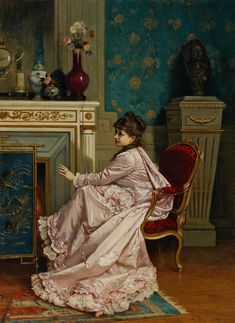 """""""At the Corner of the Fire, 1878"""" by Auguste Toulmouche (1829 - 1890). #figurepainting #portraitpainting #ladiesinart #interiorsinart #arthistory #Victorianhome #Victoriandecor #Victorianlife #Victoriantrends"""