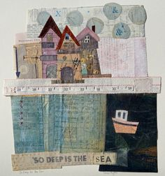 Elaine Hughes brings together stitch, drawing, vintage ephemera, found and treated papers and textiles to create unique one off pieces.