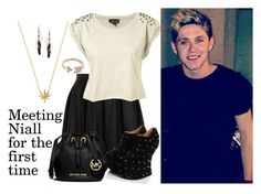 """""""Meeting Niall for the first time"""" by sabrina-emo ❤ liked on Polyvore featuring Bardot, MICHAEL Michael Kors, EF Collection, Dorothy Perkins, OneDirection, 1d, NiallHoran and 1dimagines"""