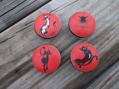 Red and Black Cat Print 1.5 Dresser Drawer Knob by ReadinginRags, $3.75