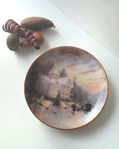 collectible Thomas Kinkade plate, december victorian christmas